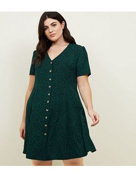 Curves Green Leopard Print Button Front Dress by New Look