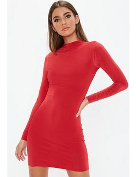 Red High Neck Mini Dress by Missguided