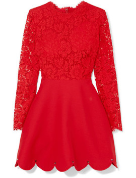 Guipure Lace And Crepe Mini Dress by Valentino