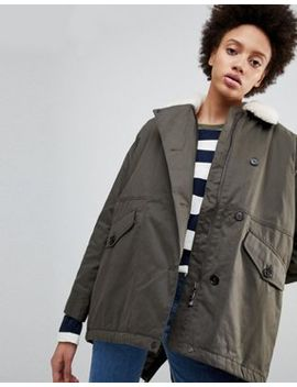 Parka London   Zoe   Parka Svasato Con Collo In Sherpa by Asos