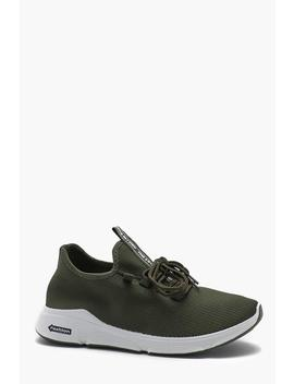 Knitted Lace Up Running Trainer by Boohoo