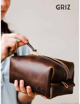 Sale Personalized Groomsmen Gift Dopp Kit Bag Customized Leather Toiletry Bag With Monogram Mens Toiletry Bag Leather Custom Gift For Him by Etsy
