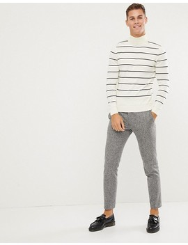 New Look Roll Neck Sweater In Cream Stripe by New Look