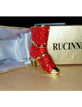 Rucinni Fancy Red Swarovski Crystallized Elements Red High Heel Boot Shoe Nwb by Ebay Seller