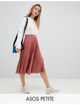 Asos Design Petite Pleated Midi Skirt In Jersey Crepe by Asos Design