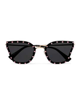 Cat Eye Crystal Embellished Acetate And Gold Tone Sunglasses by Valentino