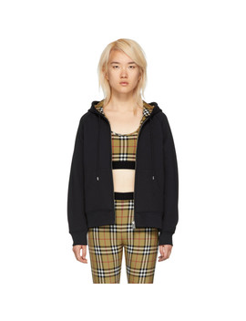 Black Check Jersey Hoodie by Burberry