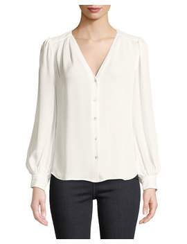 Giana Pleated Button Front Silk Blouse by L'agence