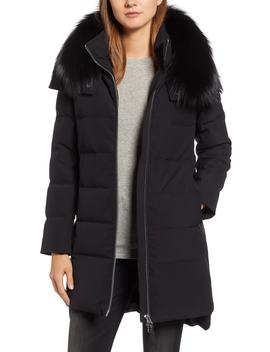 Allover Stretch Down Coat With Genuine Fox Fur Trim by Derek Lam 10 Crosby