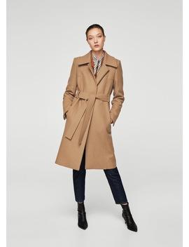 Wool Coat With Belt by Mango
