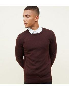 Burgundy Crew Neck Jumper by New Look