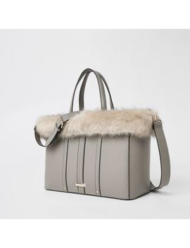 Light Grey Faux Fur Trim Winged Tote Bag by River Island