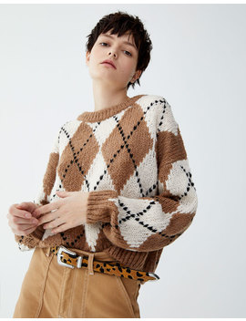 All Over Argyle Sweater by Pull & Bear