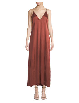 V Neck Sleeveless Long Satin Slip Dress by Forte Forte