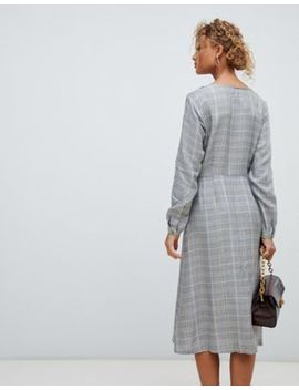 Платье миди в клетку на пуговицах New Look by Asos