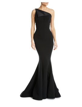 One Shoulder Fold Over Bodice Crepe Mermaid Evening Gown by Zac Posen