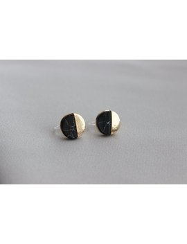 Invisible Clip On Earring    Non Pierced Stud Earring – Gold And Black Marble Pattern   Metal Free Clip On by Etsy