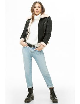 Faux Leather & Puffer Zip Front Jacket by Forever 21