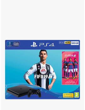 Sony Play Station 4 Slim Console With Dualshock 4 Controller, 500 Gb, Jet Black And Fifa 19 Bundle by Sony