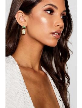 Jodie Diamante Pineapple Earrings by Boohoo