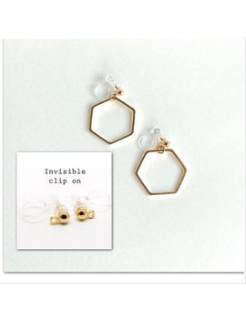 Honey Comb Earrings With Titanium Post Hypoallergenic, Invisible Clip In Earrings Hexagon,#138 by Etsy
