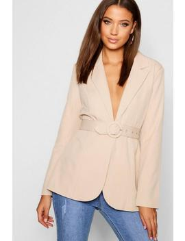 Tall Self Fabric Belted Woven Blazer by Boohoo