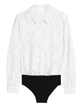 Cotton Blend Corded Lace And Jersey Bodysuit by Claudie Pierlot