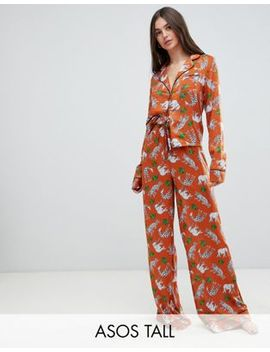 Asos Design Tall Safari Animal Pyjama Shirt And Wide Leg Set 100 Percents Modal by Asos Design