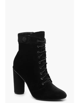 Velvet Lace Up Shoe Boots by Boohoo