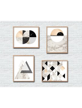 Set Of 4 Marble Copper Style Printable Instant Download Wall Art Modern Circles Triangles Geometric Nordic Scandi Digital Download Print by Etsy