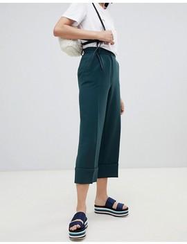 Monki Cropped Tailored Pants In Dark Green by Monki