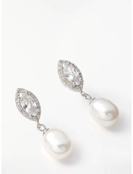 Lido Pearls Freshwater Pearl And Marquise Cubic Zirconia Drop Earrings, Silver/White by Lido Pearls