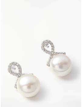 Lido Pearls Freshwater Pearl And Cubic Zirconia Stud Earrings, Silver/White by Lido Pearls