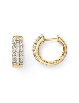 Diamond And Baguette Hoop Earrings In 14 K Yellow Gold, .85 Ct. T.W.  100 Percents Exclusive by Bloomingdale's