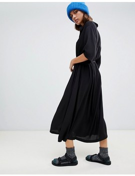 Weekday Oversized Midi Smock Dress In Black by Weekday