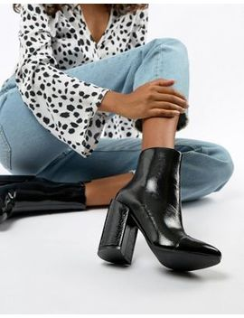 Raid – Dolley – Schwarz Lackierte Ankle Boots Mit Absatz by Asos