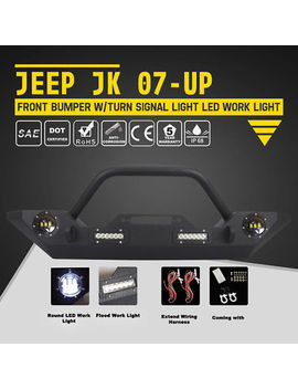Jeep Wrangler Jk Front Bumper Built In Led Lights W/ Winch Plate Bull Bar 07 19 by Lightway