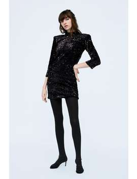 Sequinned Velvet Dress  Collection Dress Time Edit Woman by Zara