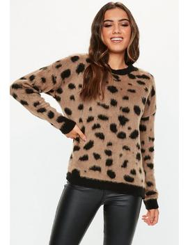 Brown Brushed Animal Print Oversized Sweater by Missguided