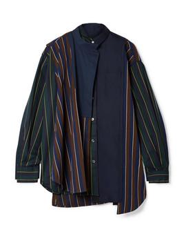 Oversized Paneled Striped Twill And Cotton Poplin Shirt by Sacai