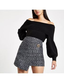 Navy Boucle Wrap Front Skirt by River Island