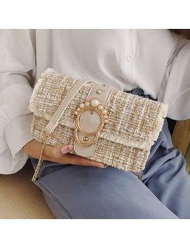 Velocia   Flap Tweed Crossbody Bag by Velocia