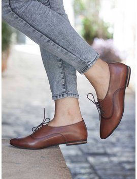 Women Leather Shoes, Leather Oxfords, Oxford Shoes, Painted Leather Shoes, Closed Shoes, Brown Shoes, Handmade, Free Shipping by Etsy
