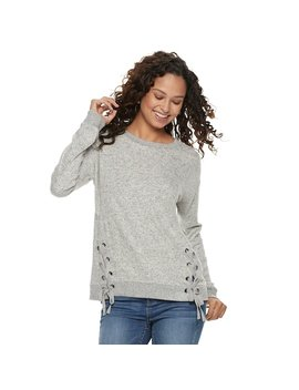 Juniors' So® Lace Up Long Sleeve Top by Juniors' So