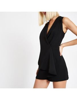 Black Wrap Front Sleeveless Romper by River Island