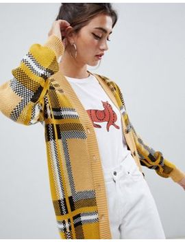 Daisy Street Relaxed Cardigan In Vintage Check by Daisy Street