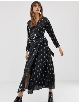 Asos Design Wrap Maxi Dress In Star And Lightning Bolt Print by Asos Design