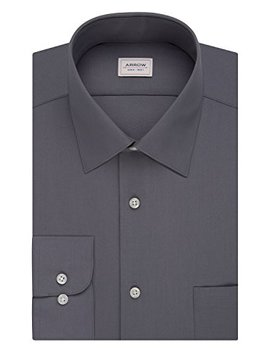 Arrow Mens Dress Shirts Athletic Fit Solid Poplin Spread Collar by Arrow 1851