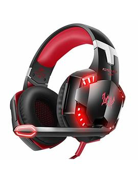 Version Tech. G2000 Gaming Headset, Surround Stereo Gaming Headphones With Noise Cancelling Mic, Led Lights & Soft Memory Earmuffs, Works With Xbox One, Ps4, Nintendo Switch, Pc Mac Computer Games  Red by Version Tech.