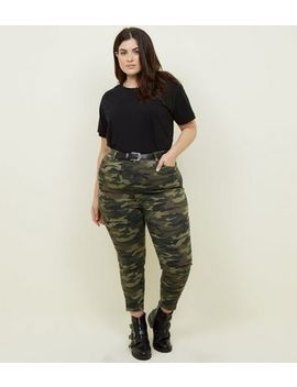 Curves Khaki Camo Print Skinny Jeans by New Look